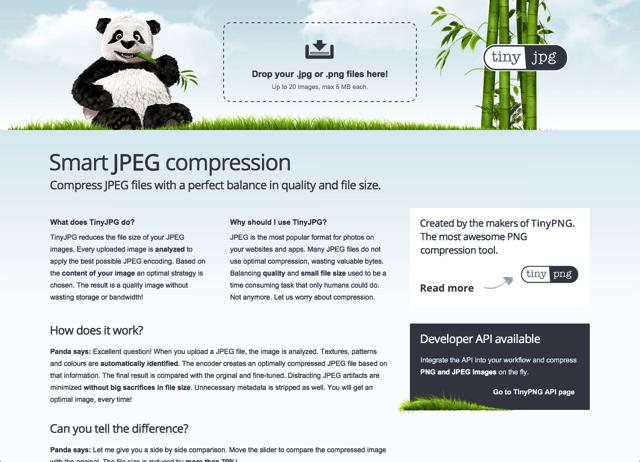 TinyJPG 線上 JPG、PNG 圖片壓縮工具,輕鬆減少圖片 70% 大小 via @freegroup