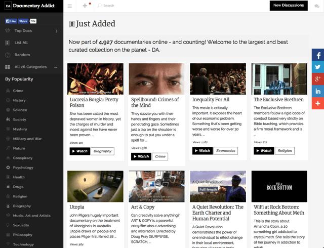 Documentary Addict 地表最豐富、完整的紀錄片頻道,各類影片線上看免下載