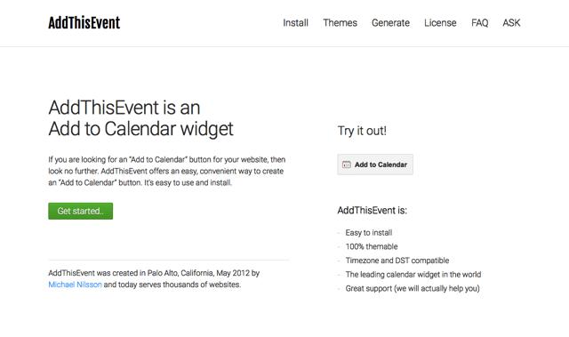 AddThisEvent 為活動網頁新增「加入行事曆」按鈕,快速登錄各種行事曆服務