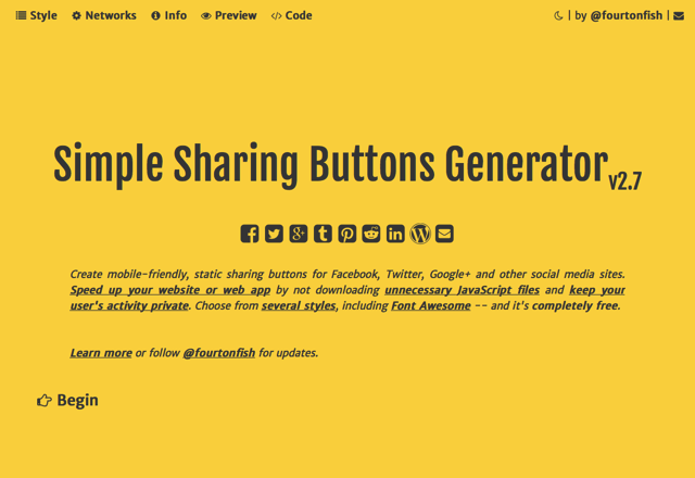 Simple Sharing Buttons Generator 線上快速製作純 HTML + CSS 社群網站分享按鈕