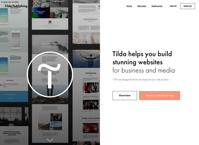 Tilda Publishing 免費網頁製作平台,超過 170 種內容類型幫你做出獨一無二網站