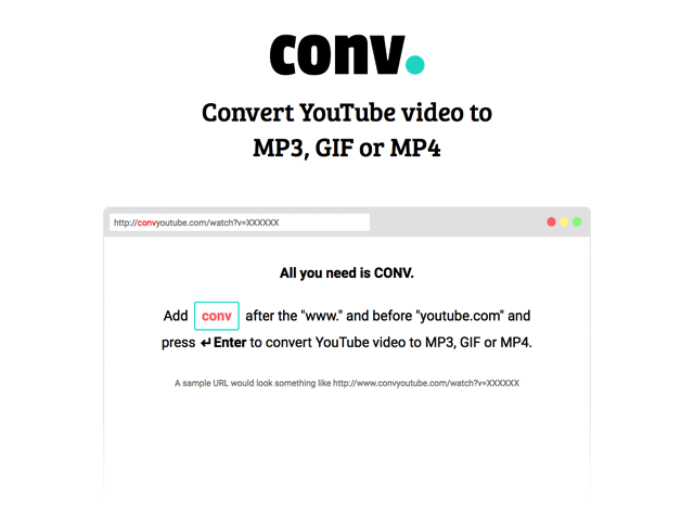 CONV:YouTube 網址加四個英文字下載、轉檔 Mp3、Gif 和 Mp4 格式