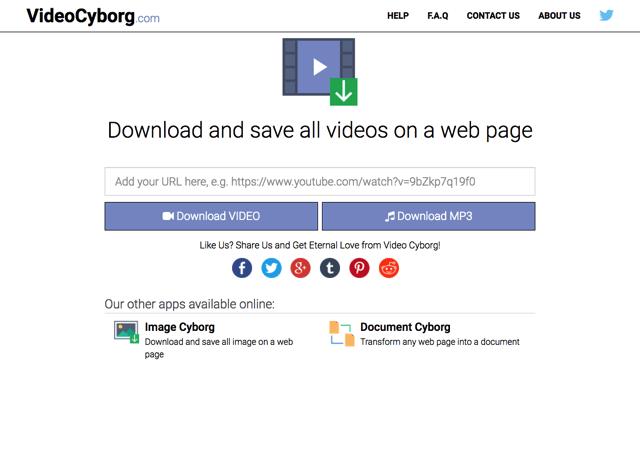 Video Cyborg 一鍵下載網頁內所有影片,儲存為影片或 MP3 格式