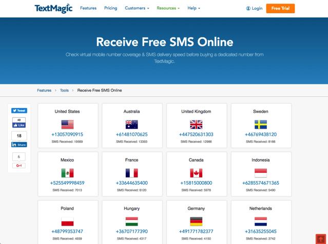 TextMagic Receive Free SMS Online 提供世界 30 國家免費手機號碼接收簡訊服務