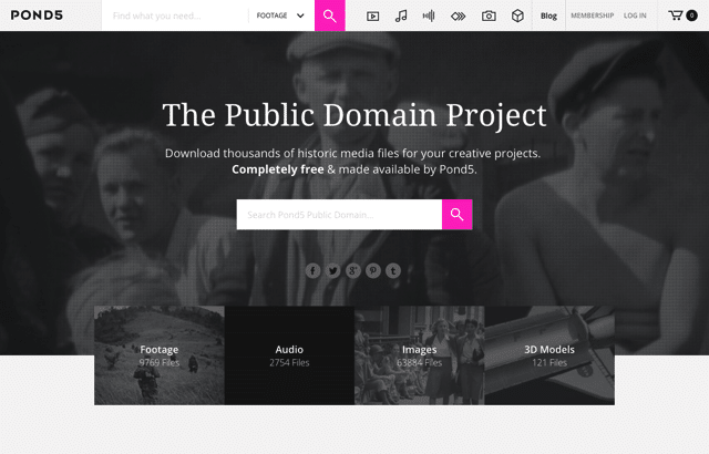 Pond5 Public Domain 免費下載七萬個老影片、音訊、相片及 3D 模型
