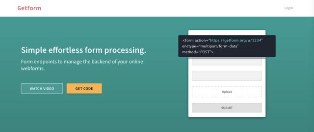 Getform 簡易網頁表單處理服務,管理線上表單資料支援匯出及檔案上傳