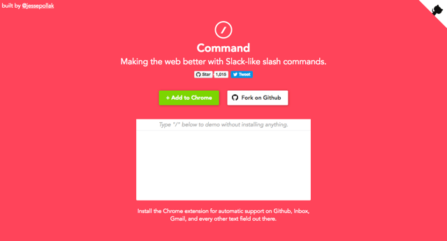 Command 為網頁加入類 Slack 快捷選單,可加入表情圖案、Giphy 動態圖(Chrome 擴充功能)