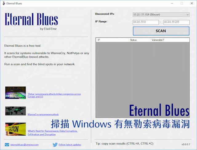 Eternal Blues 免費掃描 Windows 有無勒索病毒漏洞,趁入侵前防堵修復 via @freegroup