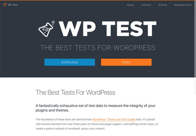 WP Test 測試 WordPress 最棒範例內容,填充各種內容協助開發佈景主題