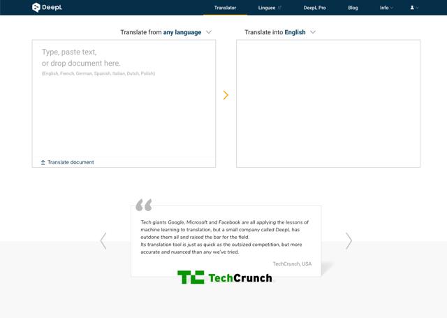 DeepL Translator 免費線上翻譯服務,透過機器學習讓譯文更自然細緻