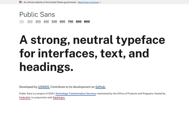 Public Sans 美國政府設計免費英文字型,開放原始碼可自由下載使用