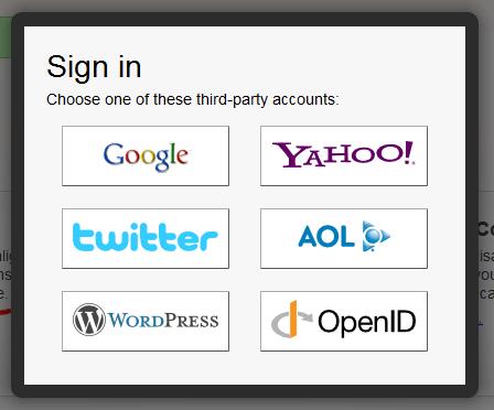 登入第三方帳戶,包括Google,Yahoo,Twitter,AOL,WordPress,OpenID