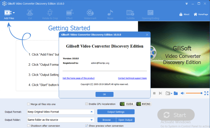 GiliSoft Video Converter Discovery Edition Serial key