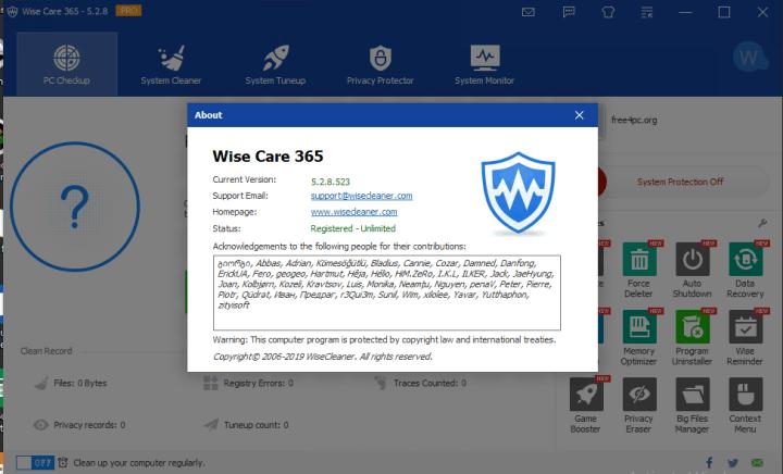 Wise Care 365 Pro 5.2.8 Build 527 Crack