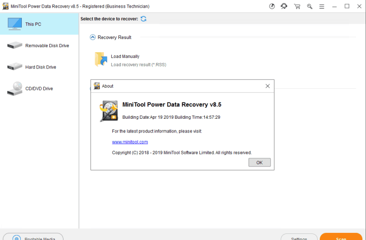 MiniTool Power Data Recovery Business Technician 8.5 Full version