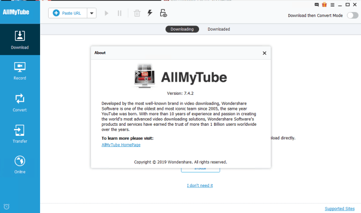 Wondershare AllMyTube 7.4.2.2 Key