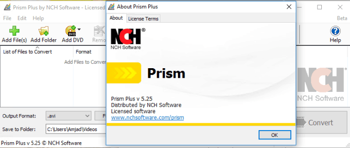 NCH Prism Plus 5.25 Beta Full version