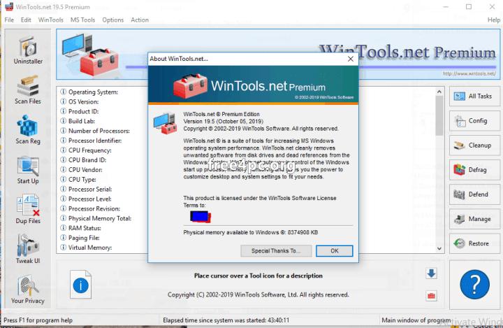 WinTools net Premium registration keys