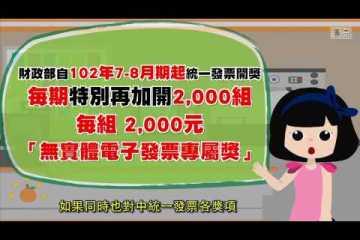 無實體電子發票專屬獎中獎號碼兌獎方式及注意事項
