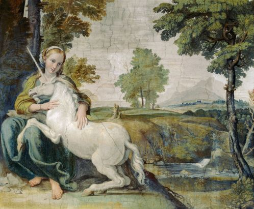 A maiden taming a unicorn