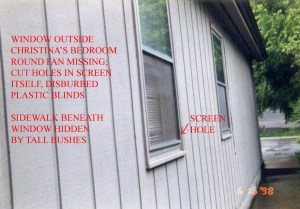Police photograph taken day of crime discovery, 6-16-98. Note cut on right corner of screen. This window is low enough to the ground for a person of Misook's height to gain entry. CLICK TO ENLARGE
