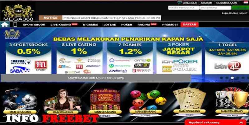 QQmega368.com Agen judi Casino Online dengan bonus deposit 100%