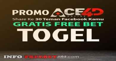 FREEBET TOGEL GRATIS LIKE & SHARE DARI ACE4D.com