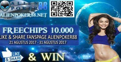 AlienPoker88.Net - Freechip Gratis Rp 10.000 Tanpa Deposit
