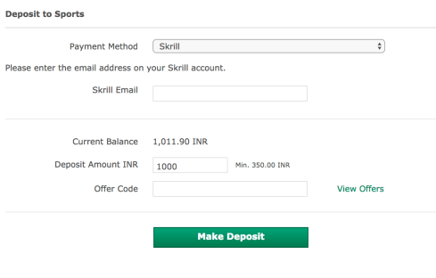 Deposit Funds in Bet365 using Skrill