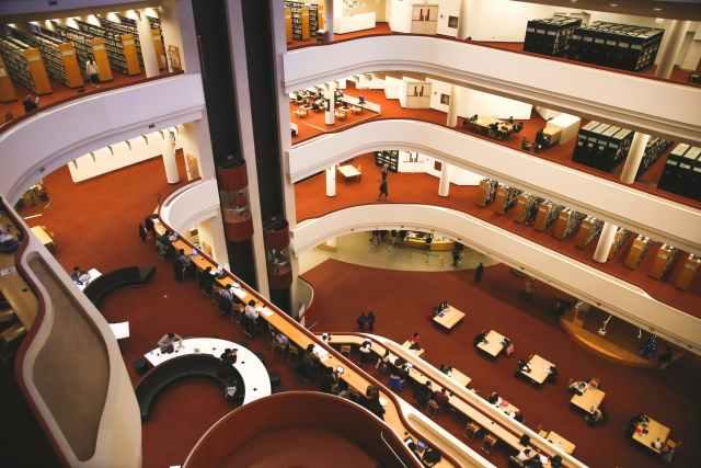 interior of elegant spacious multistory library