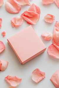 rose petals and gift placed on white background