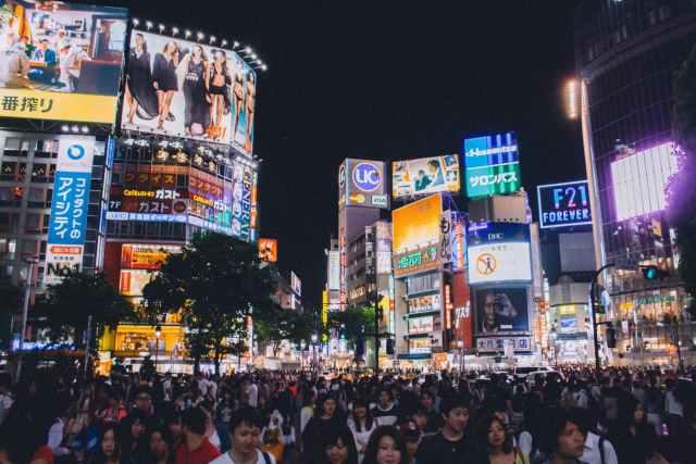 city people lights walking