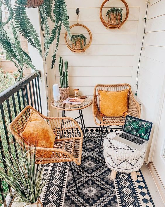 A decorated balcony.