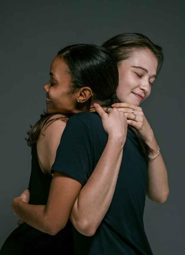 happy women hugging