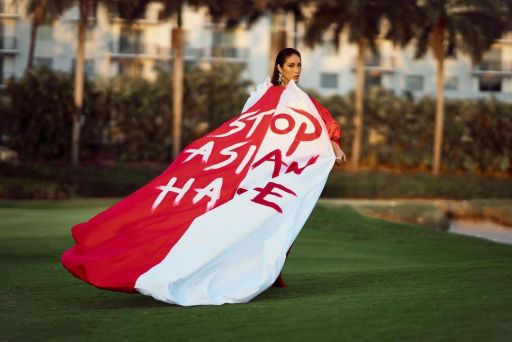 """A Filipino designer made Miss Singapore's """"Stop Asian Hate"""" gown"""