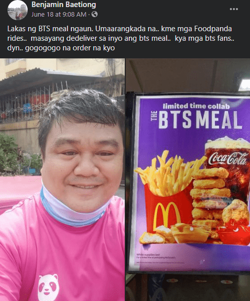 BTS Fans P45,000 for FoodPanda Driver With #ARMYMealProject