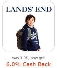 Lands' End 6% cash back from Ebates