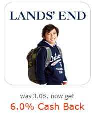 Lands' End 6% cash back from Ebates