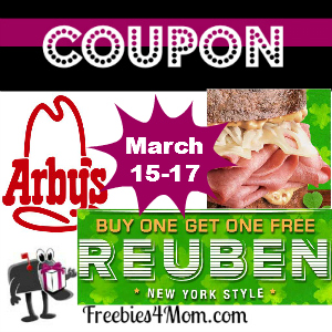 Coupon Arby's Buy 1 Reuben Sandwich, Get 1 Free Mar. 15-17