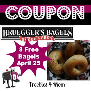 Coupon 3 Free Bagels at Bruegger's April 25