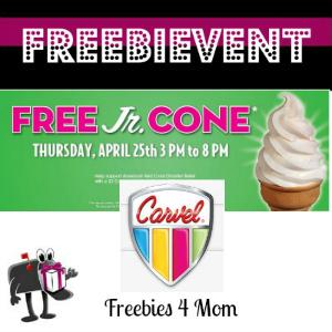 Free Jr. Cone at Carvel Ice Cream April 25