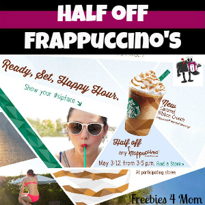 Starbucks Half-Price Frappuccino 3-5pm May 3-12