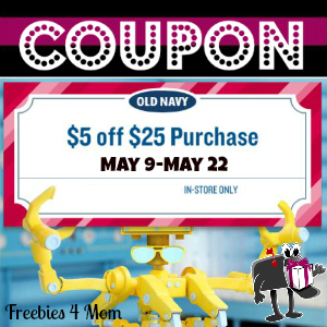 Coupon $5 off $25 at Old Navy