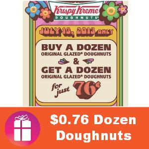 BOGO Dozen for $0.76 at Krispy Kreme