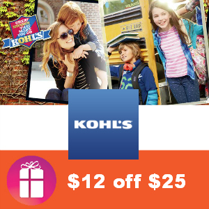 $12 off $25 Kohl's Kids Apparel