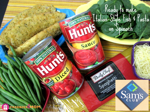 Ingredients for Italian-Style Fish & Pasta on Spinach #SamsDemos #cbias #shop