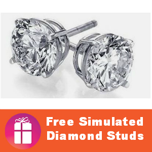 Free Sterling Silver Simulated Diamond Studs