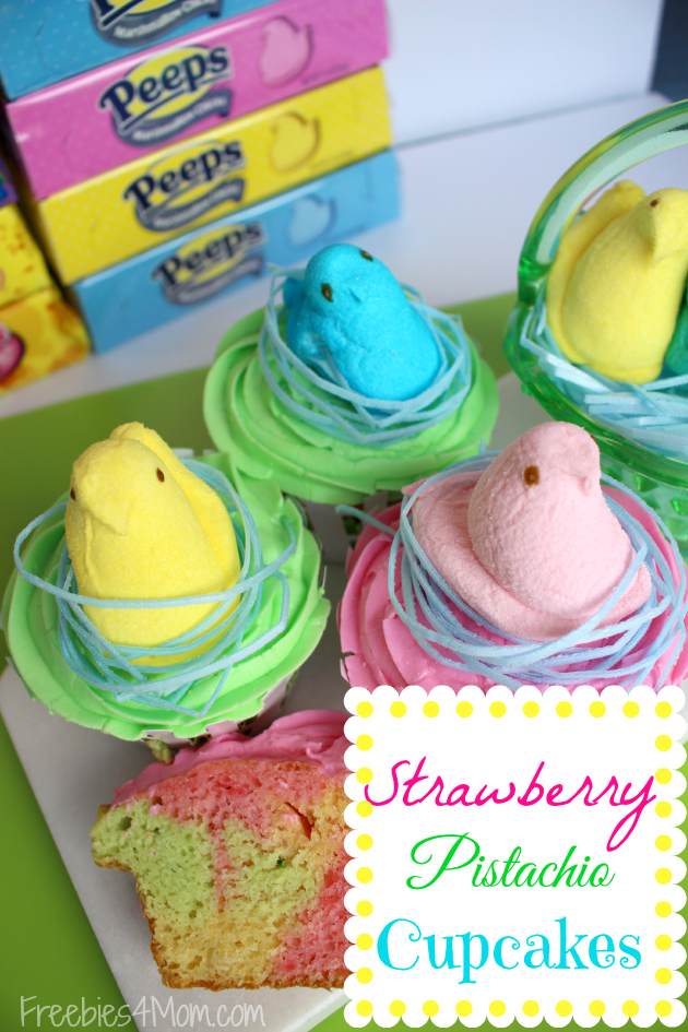 PEEPS Strawberry Pistachio Cupcakes