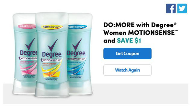 $1.00 Degree® Women with MOTIONSENSE™ Coupon