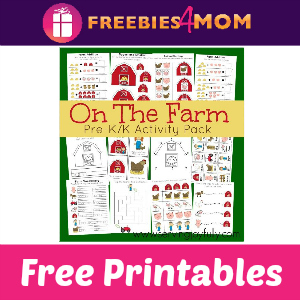 Free On The Farm Pre-K/K Activity Printables